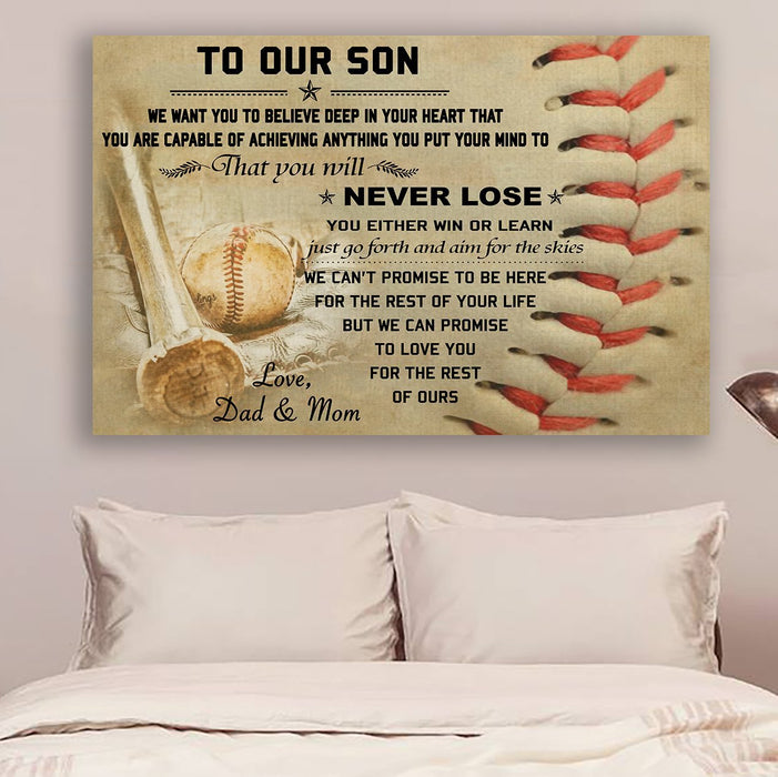 Baseball Canvas and Poster | To our son | never lose | wall decor visual art - GIFTCUSTOM