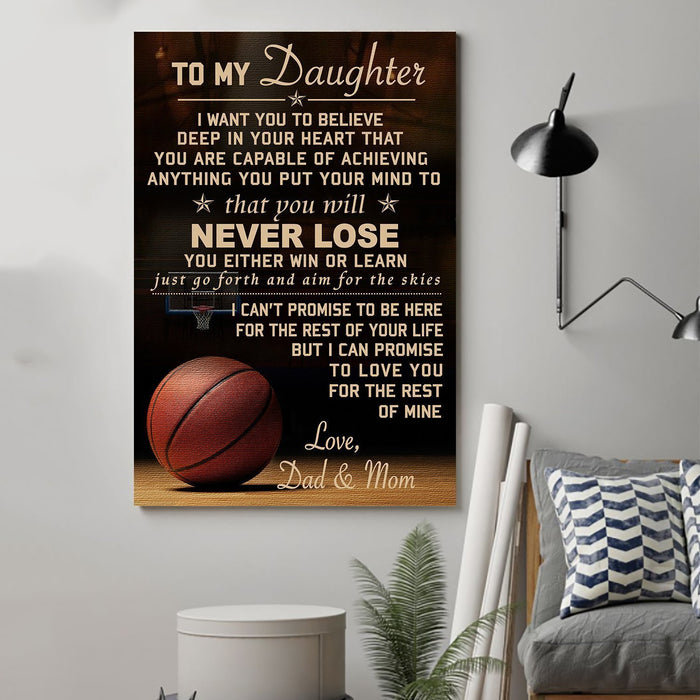Basketball Canvas and Poster Dad and Mom to Daughter Never Lose wall decor visual art - GIFTCUSTOM