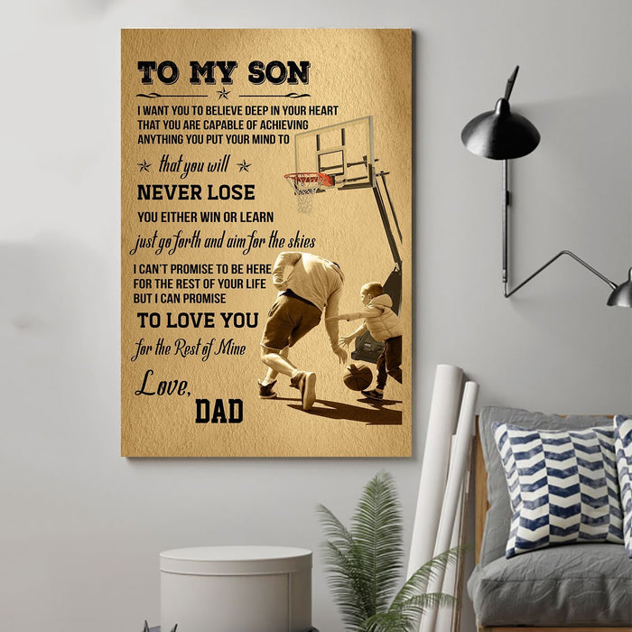 Basketball Canvas and Poster ��� Dad son never lose wall decor visual art - GIFTCUSTOM