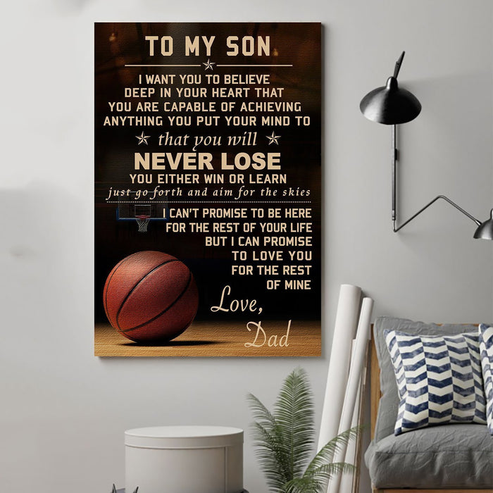 Basketball Canvas and Poster ��� Dad son ��� never lose wall decor visual art - GIFTCUSTOM