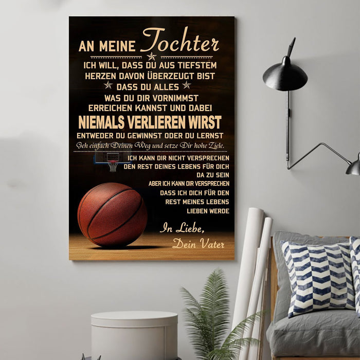 basketball Canvas and Poster ��� Dad to Daughter ��� never lose German vs wall decor visual art - GIFTCUSTOM