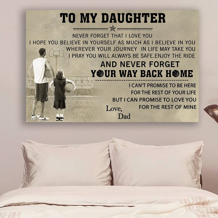 Basketball Canvas and Poster ��� Dad to daughter ��� Your way back home wall decor visual art - GIFTCUSTOM