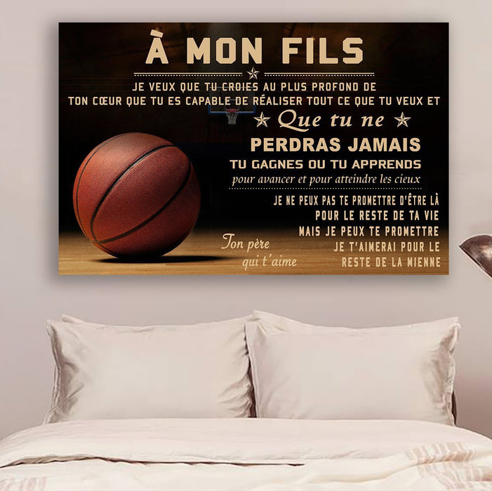 basketball Canvas and Poster ��� dad to son ��� never lose french version wall decor visual art - GIFTCUSTOM