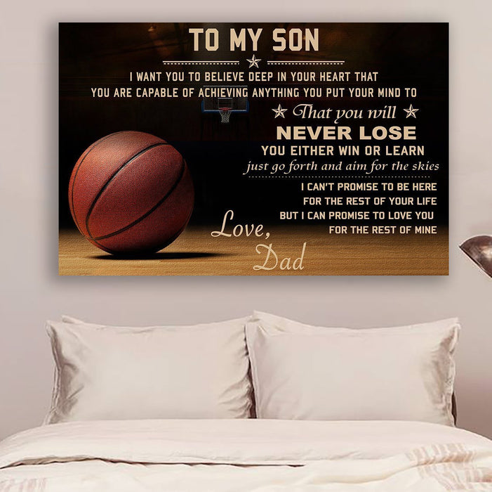 Basketball Canvas and Poster ��� dad to son ��� never lose wall decor visual art - GIFTCUSTOM