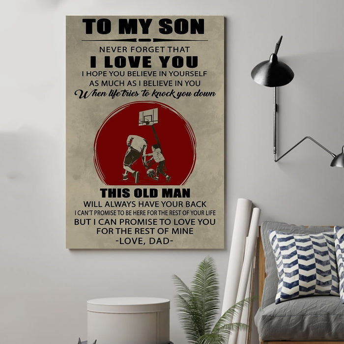 Basketball Canvas and Poster ��� Dad to Son ��� This old man wall decor visual art - GIFTCUSTOM