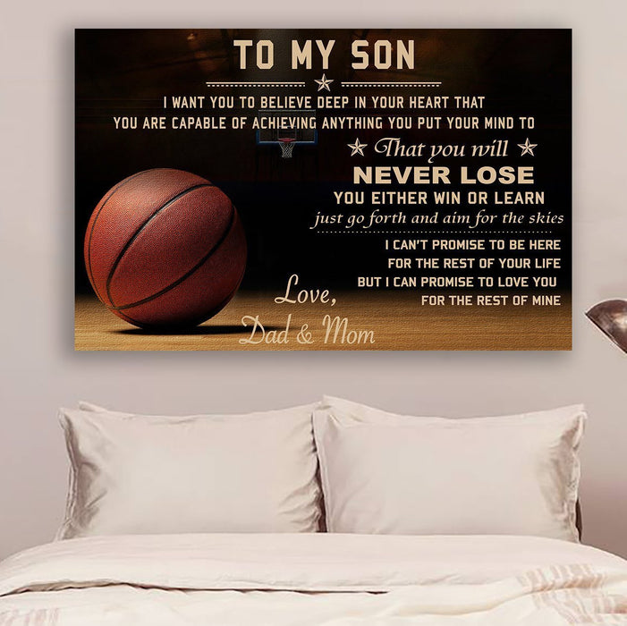 Basketball Canvas and Poster ��� Dad&Mom Son ��� never lose wall decor visual art - GIFTCUSTOM