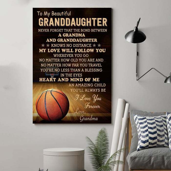 Basketball Canvas and Poster ��� grandma to granddaughter never forget that wall decor visual art - GIFTCUSTOM