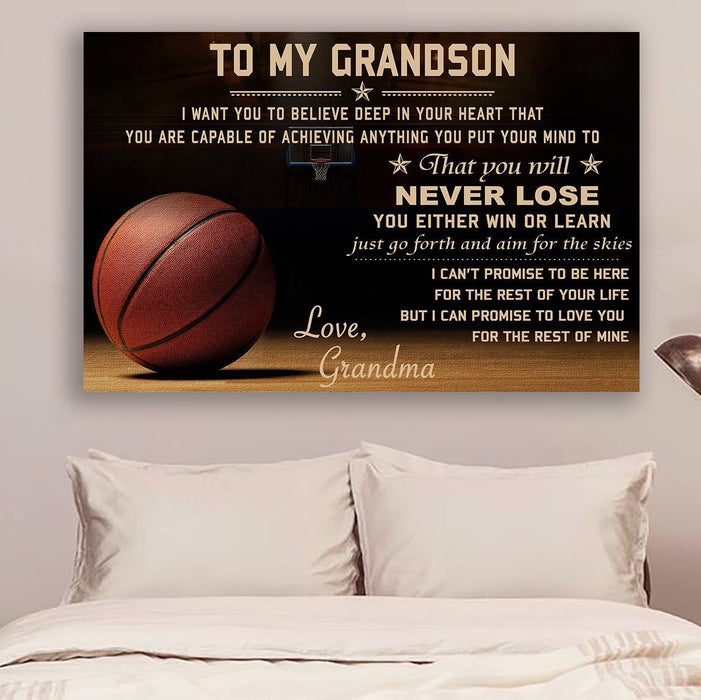 Basketball Canvas and Poster ��� grandma to grandson ��� never lose 1 wall decor visual art - GIFTCUSTOM