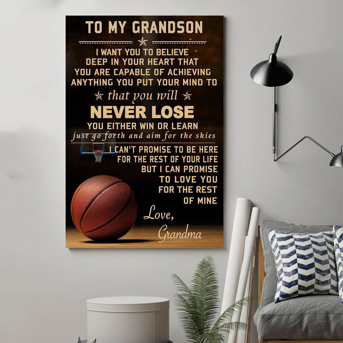 Basketball Canvas and Poster ��� grandma to grandson never lose wall decor visual art - GIFTCUSTOM