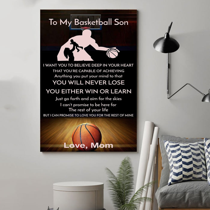 Basketball Canvas and Poster ��� Mom to my basketball son ��� Never lose wall decor visual art - GIFTCUSTOM