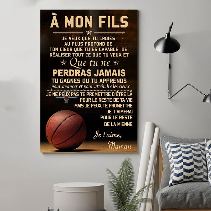 basketball Canvas and Poster ��� Mom to Son ��� never lose french vs wall decor visual art - GIFTCUSTOM