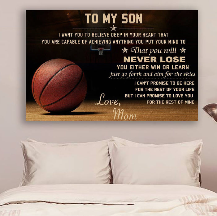Basketball Canvas and Poster Mom to Son Never Lose wall decor visual art - GIFTCUSTOM