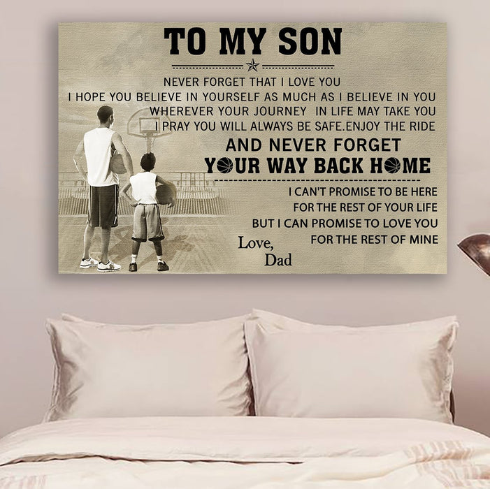 Basketball Canvas and Poster ��� Mom to son ��� Your way back home wall decor visual art - GIFTCUSTOM