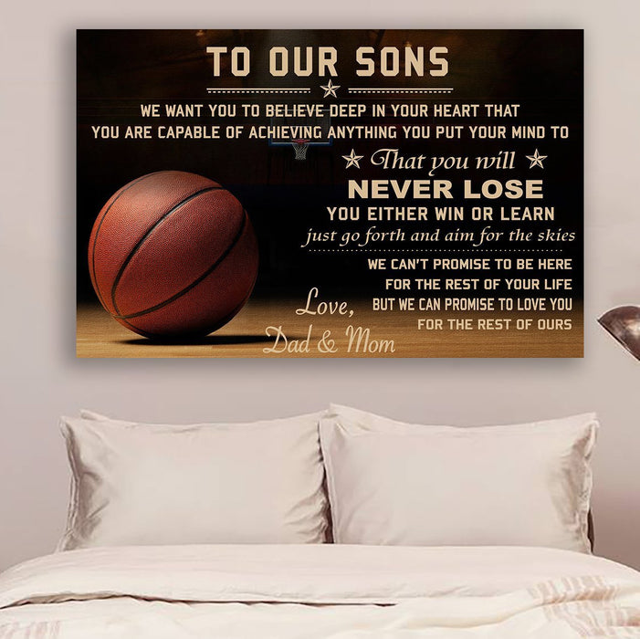 Basketball Canvas and Poster ��� To our sons ��� Never lose wall decor visual art - GIFTCUSTOM