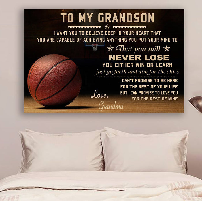 Basketball Grandma to Grandson Never Lose Canvas and Poster wall decor visual art - GIFTCUSTOM