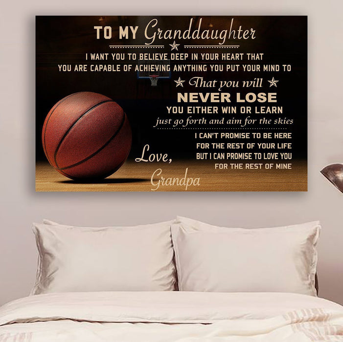 Basketball Grandpa to Granddaughter Never Lose Canvas and Poster wall decor visual art - GIFTCUSTOM