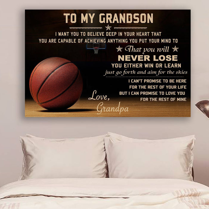 Basketball Grandpa to Grandson Never Lose Canvas and Poster wall decor visual art - GIFTCUSTOM