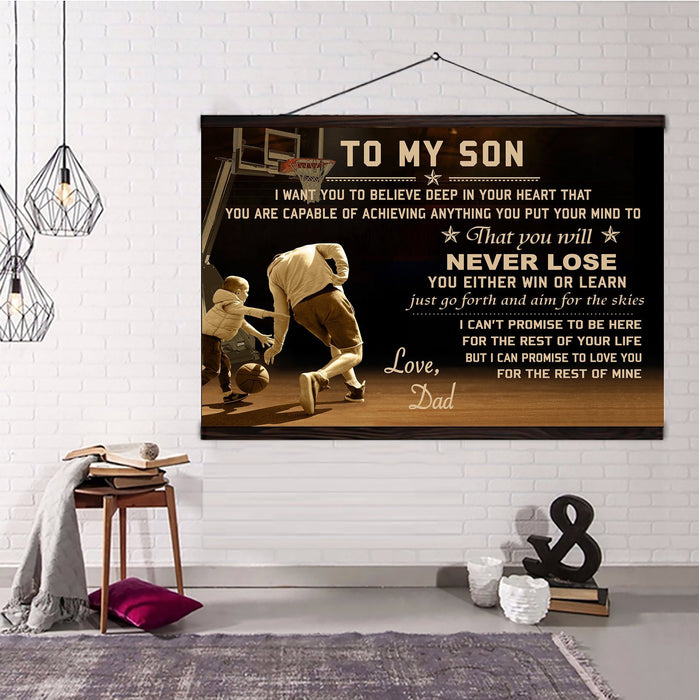 Basketball Hanging Canvas Dad to Son Never Lose I love you for the rest of mine wall decor visual art - GIFTCUSTOM