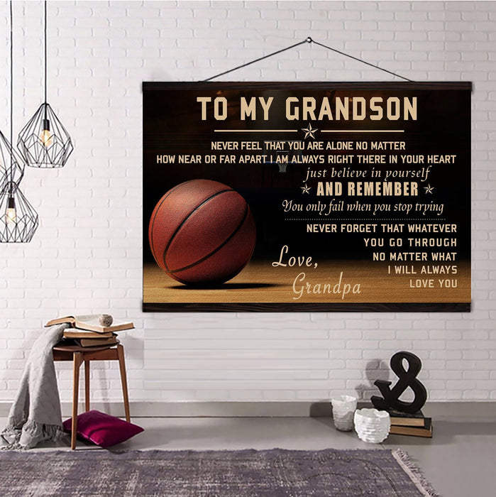 Basketball Hanging Canvas Grandpa to Grandson Never feel that you are alone wall decor visual art - GIFTCUSTOM