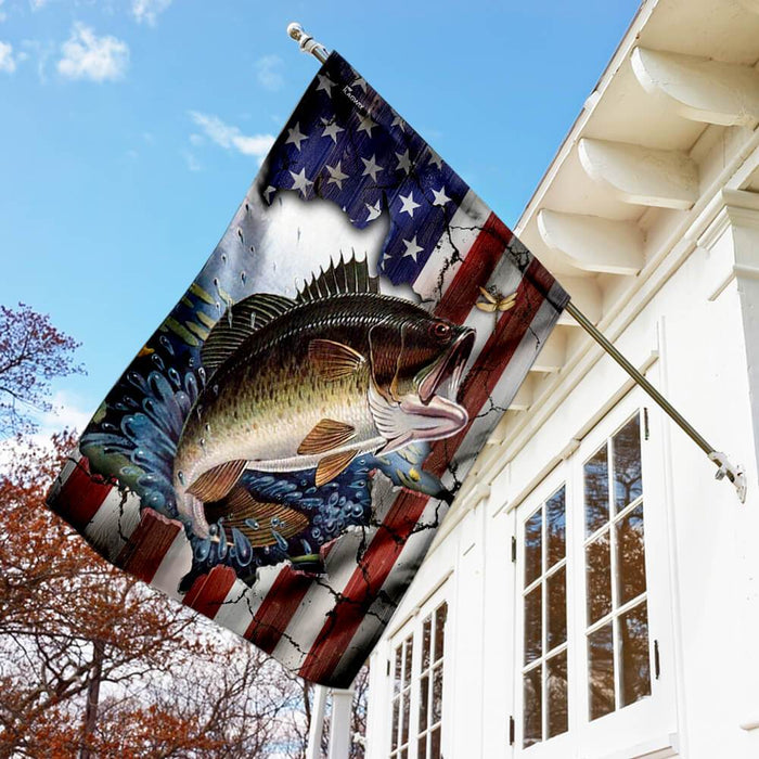 Bass Fishing American Flag | Garden Flag | Double Sided House Flag - GIFTCUSTOM