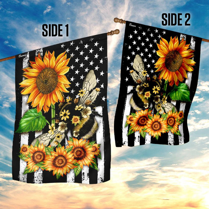 Bee Sunflower American Flag | Garden Flag | Double Sided House Flag - GIFTCUSTOM