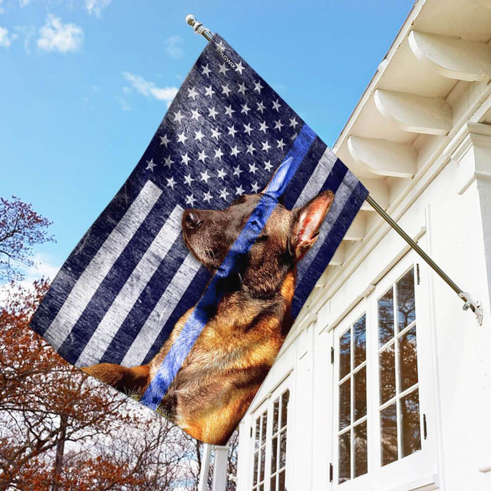 Belgian Malinois. The Thin Blue Line Flag | Garden Flag | Double Sided House Flag - GIFTCUSTOM