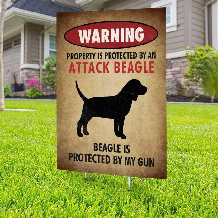 Beware of Beagle Yard Sign (24 x 18 inches) - GIFTCUSTOM
