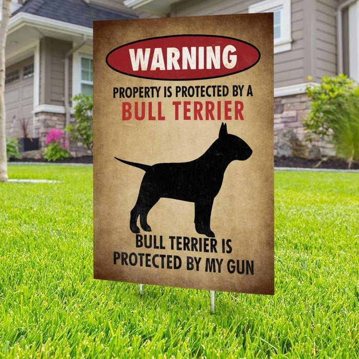 Beware of Bull Terrier Yard Sign (24 x 18 inches) - GIFTCUSTOM