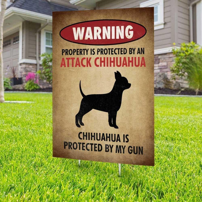 Beware of Chihuahua Yard Sign (24 x 18 inches) - GIFTCUSTOM
