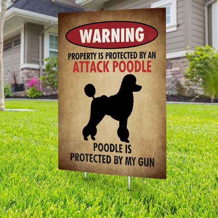 Beware of Poodle Yard Sign (24 x 18 inches) - GIFTCUSTOM