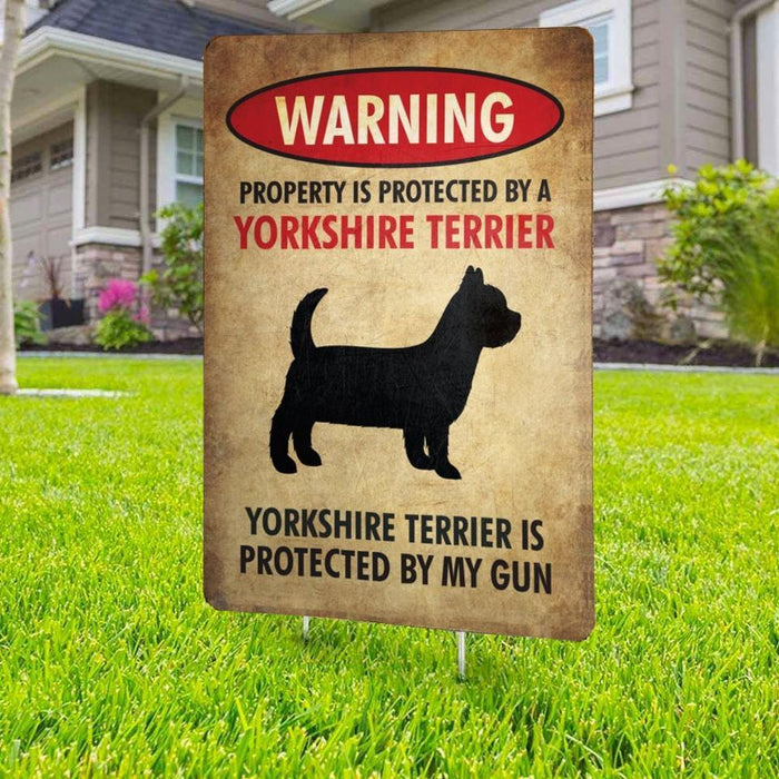 Beware of Yorkshire Terrier Yard Sign (24 x 18 inches) - GIFTCUSTOM