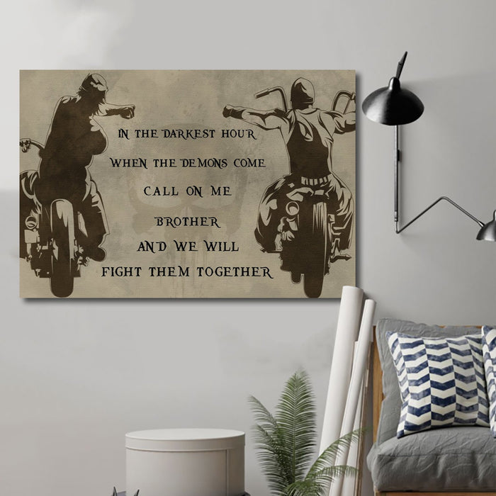 biker Canvas and Poster ��� call on me brother wall decor visual art - GIFTCUSTOM