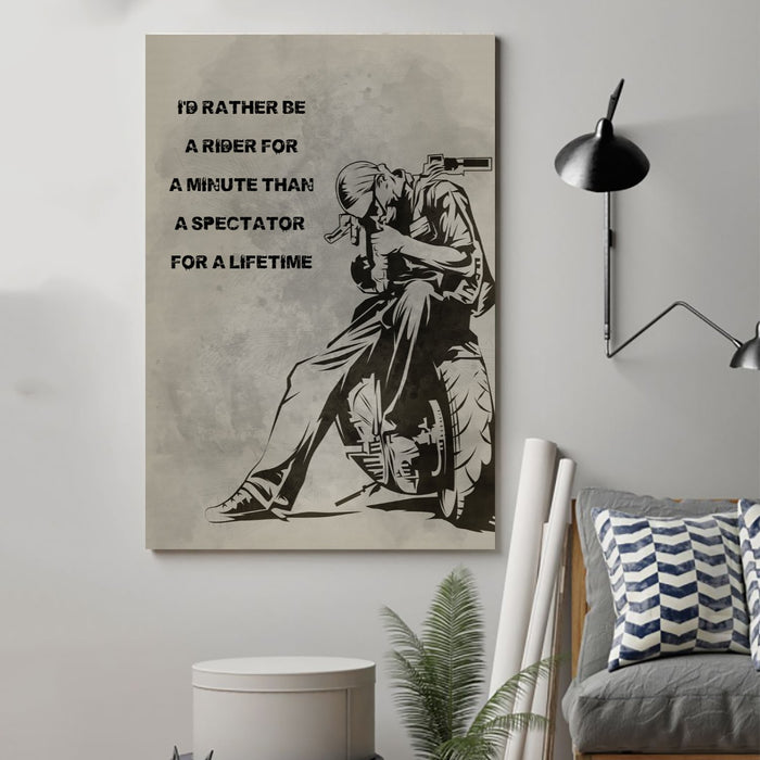 biker Canvas and Poster ��� id rather be a rider for a minute wall decor visual art - GIFTCUSTOM