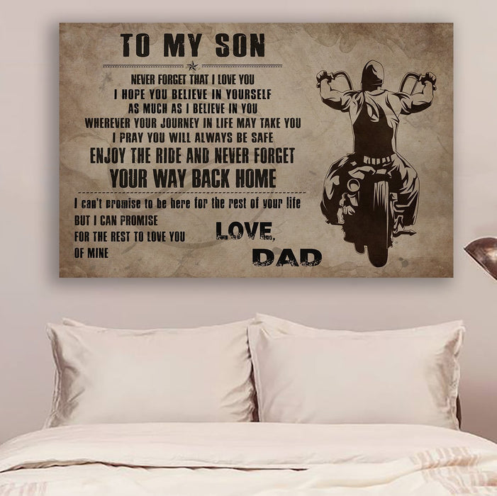 Biker Canvas and Poster ��� To my son ��� Your way back home wall decor visual art - GIFTCUSTOM