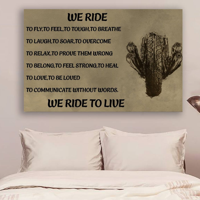 biker Canvas and Poster ��� we ride to live wall decor visual art - GIFTCUSTOM