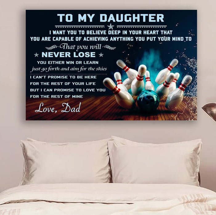 bowling Canvas and Poster ��� Dad to daughter ��� never lose wall decor visual art - GIFTCUSTOM