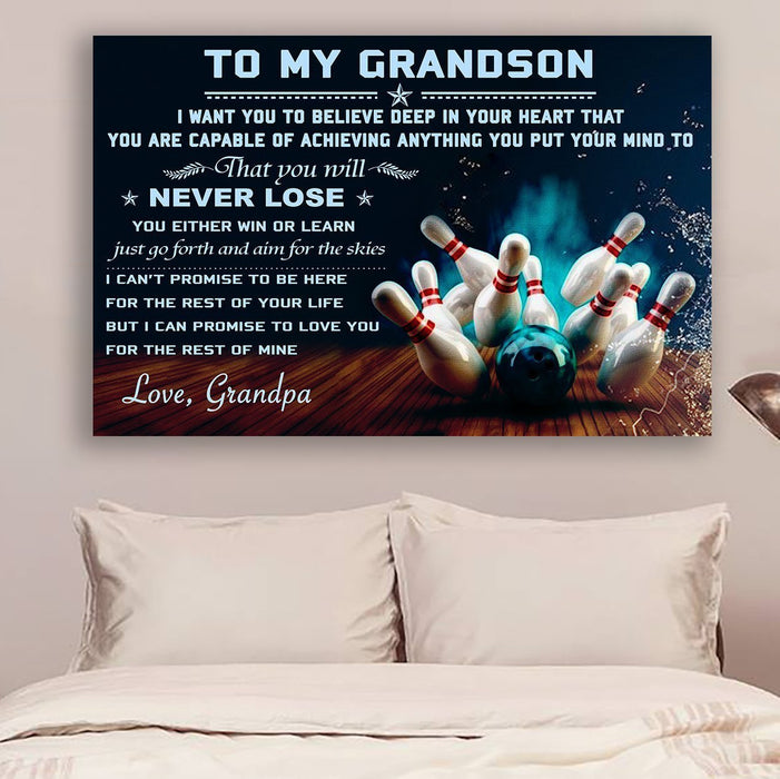 bowling Canvas and Poster ��� grandpa to grandson ��� never lose wall decor visual art - GIFTCUSTOM