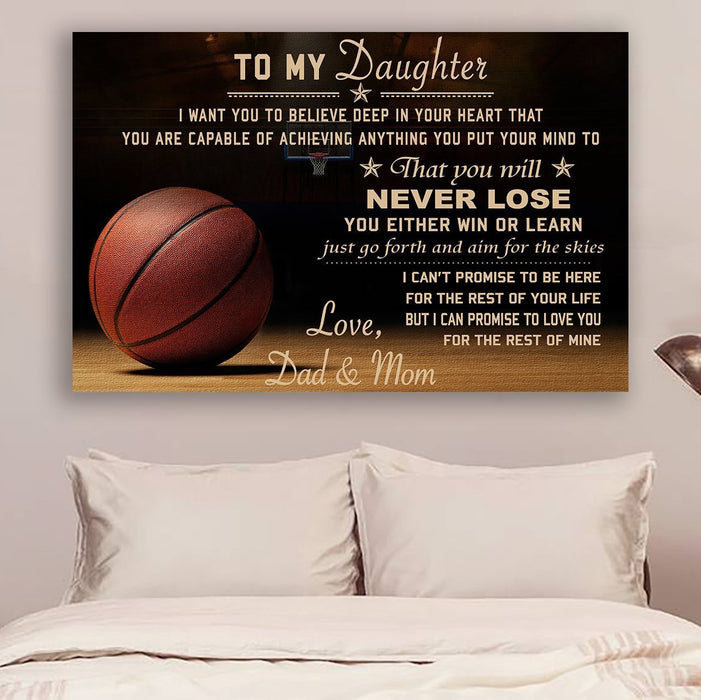 Canvas and Poster Basketball Dad and Mom to daughter Never Lose wall decor visual art - GIFTCUSTOM