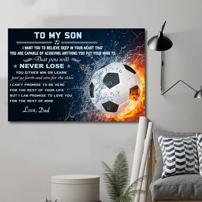 Canvas and Poster Dad Son Never Lose soccer wall decor visual art - GIFTCUSTOM