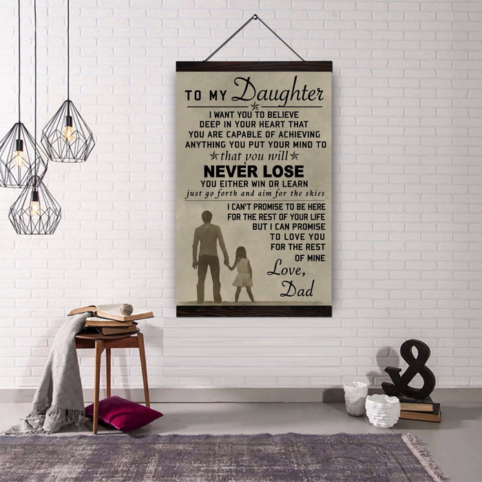Canvas with the wood frame above ��� to my daughter, love dad wall decor visual art - GIFTCUSTOM