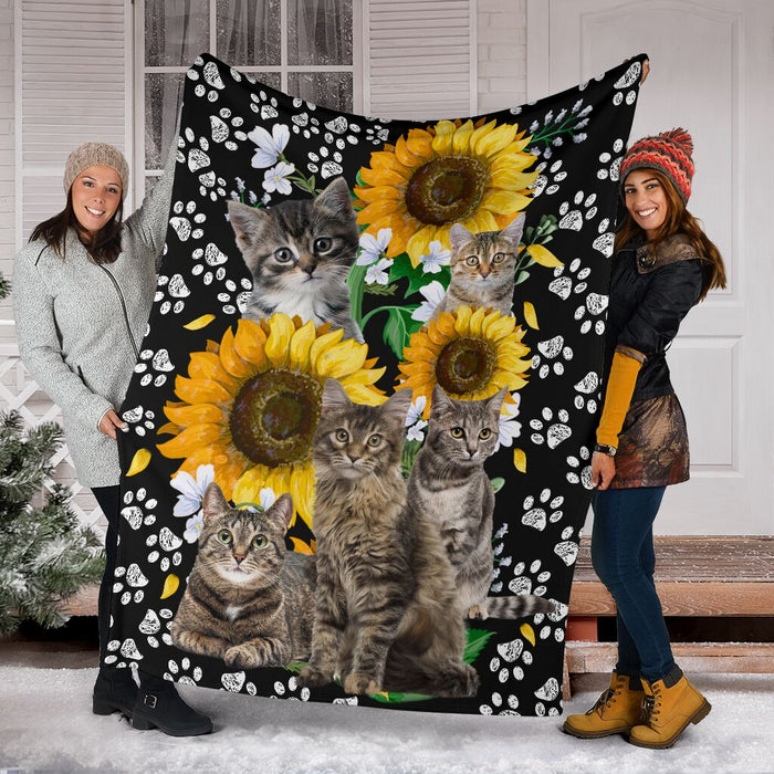 Cat sunflower Blanket - GIFTCUSTOM