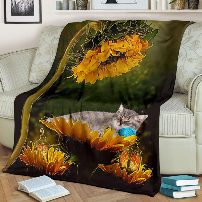 Cat sunflower premium blanket - GIFTCUSTOM