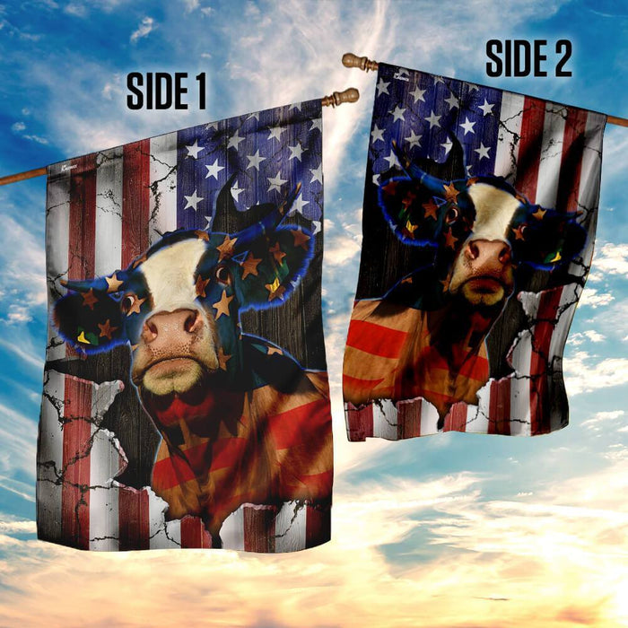 Cattle American Flag | Garden Flag | Double Sided House Flag - GIFTCUSTOM