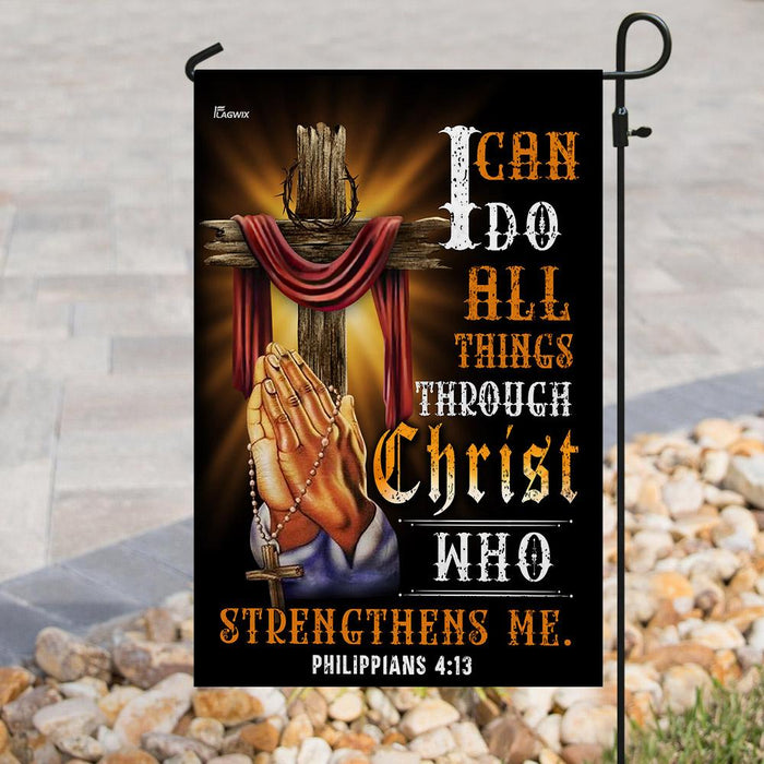 Christian Jesus. I Can Do All Things Through Christ | Garden Flag | Double Sided House Flag - GIFTCUSTOM