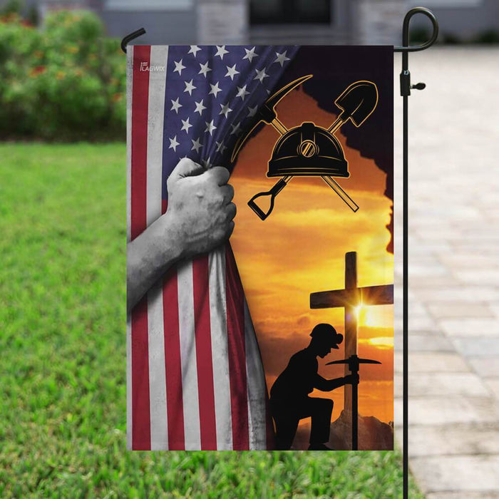 Coal Miner Flag | Garden Flag | Double Sided House Flag - GIFTCUSTOM