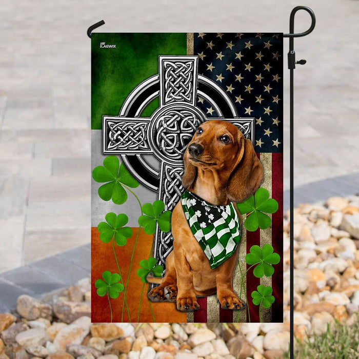 Dachshund Irish Cross Flag | Garden Flag | Double Sided House Flag - GIFTCUSTOM
