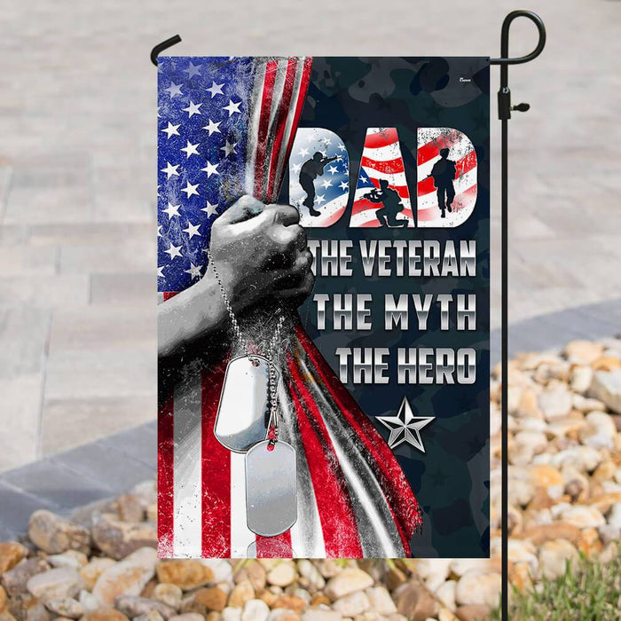 Daddy The Hero Veteran Flag | Garden Flag | Double Sided House Flag - GIFTCUSTOM