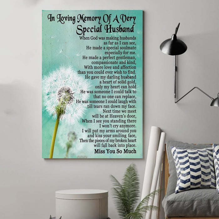 Dandelion Canvas and Poster ��� Wife to husband ��� In loving meory wall decor visual art - GIFTCUSTOM