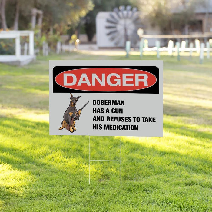 DANGER DOBERMAN Yard Sign (24 x 18 inches) - GIFTCUSTOM