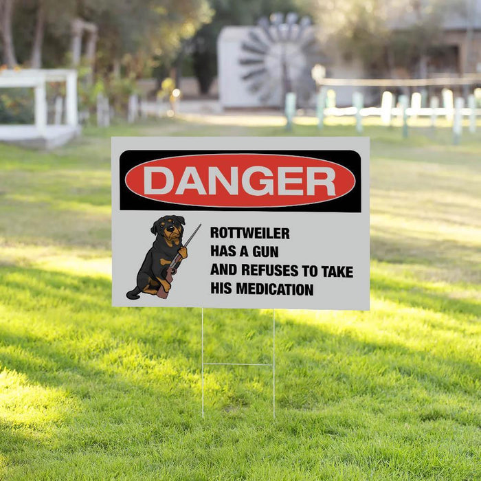 DANGER ROTTWEILER Yard Sign (24 x 18 inches) - GIFTCUSTOM